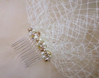 Birdcage Veil, Wedding Veil, Champagne Pearl Bridal Veil, Wedding Headpiece, Blusher Veil, Pearl Birdcage Veil, Bridal Fascinator