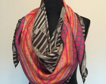 Folklorica Silk Scarf Habutai Silk Scarf Silk Scarves Digitally Printed Silk Scarf