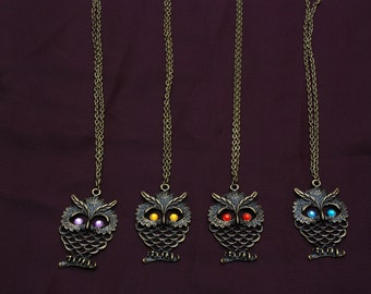 With bronze-colored OWL necklace