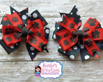 Paw Print Hair Bows, Red and Black Paw Print Hair Bows, Black and Red Paw Print Hair Bows, Pinwheel Hair Bows, Pig Tail Hair Bows.