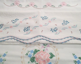 Vintage Hand Embroidered Pillowcases, Fabrics, Linens, Bedding, Quilt Squares - 3 Pillowcases
