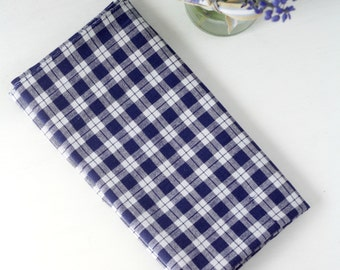Vintage Cotton Fabric White and Blue Check