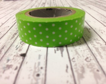 Washi Tape Green white polka-dots 10 meters