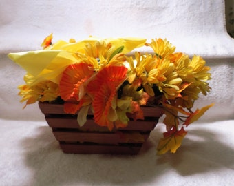 Floral Art Basket wood with Yellows and oranges