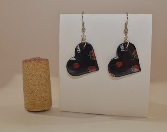 Strawberry Small Heart Earrings made from Arizona Ice Tea can