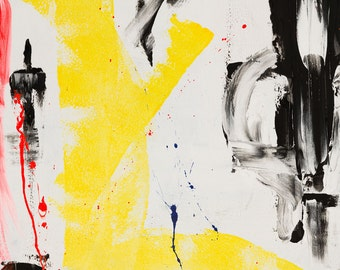 ABSTRACT Hot pink, yellow, black - fine art prints