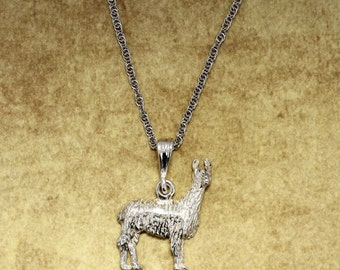 "Llama Necklace,   Large Silver Llama with 18"" silver chain"