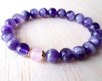 Amethyst Bracelet, Amethyst Bracelet, Gemstone Bracelet, February Birthstone Jewelry, Genuine Amethyst Jewelry