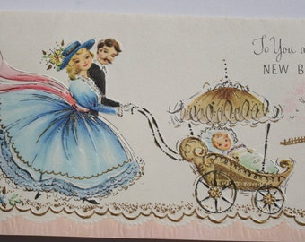 Vintage 1950s New Baby Card, Unused New Baby Card, 50s Congratulations New Baby Card, Cute Card with Envelope