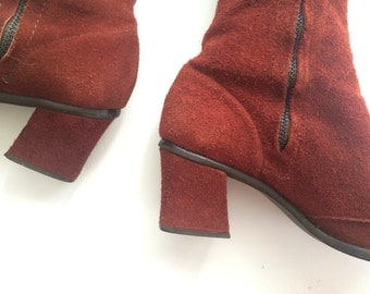 70s Knee High Suede Boots