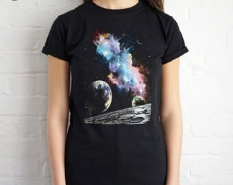 Retro Space Galaxy T-shirt Top Shirt Tee Summer Fashion Blogger Vintage Alien Planets Tumblr Grunge