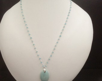 Pendant Necklace cool Amazonite and Apatite