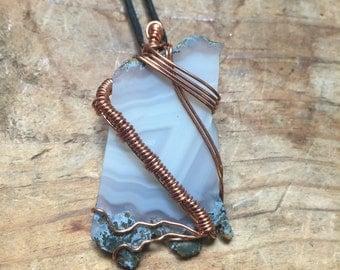 Agate Slice Copper Necklace