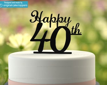 "40th Birthday Cake Topper - ""Happy 40th"" - BLACK - OriginalCakeToppers"