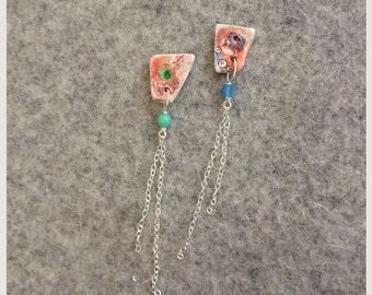 Textured Orange Porcelain Earrings
