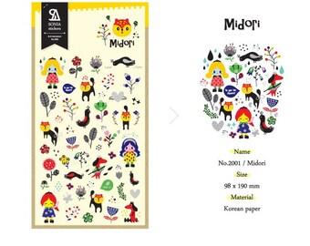 2002- Midori Korean Sticker sheet Sonia.J Kawaii sticker, Cute stickers, Scrapbooking planner