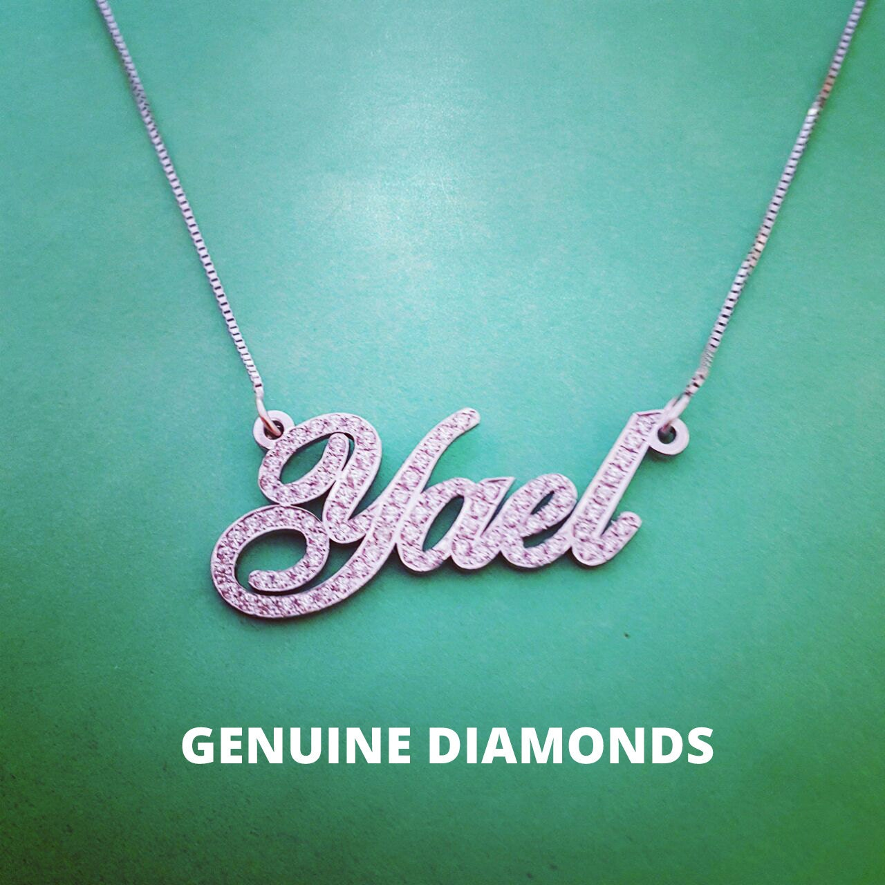 pave design name necklace 14k white gold genuine diamonds. Black Bedroom Furniture Sets. Home Design Ideas