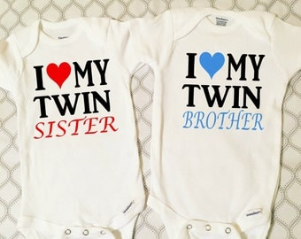 Twin Onesie Set, Outfit For Twins, Twin Baby Onesies