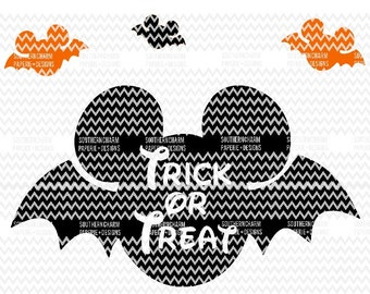 Trick or Treat Mickey Inspired Halloween Bat Bundle Svg Cut File for Kids T-shirts Halloween Treat Bag Pumpkin Decal Children SVG JPG PNG