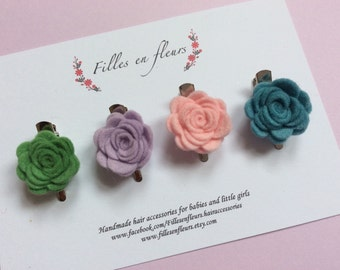 Georgous set of 4 wool felt mini roses on small alligator clips. Baby/girl. Choose your colours. New summer colours! Hair accessories