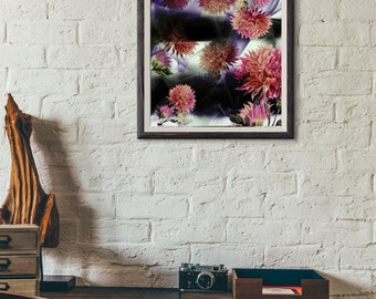 Printable Wall Art, Pink Flower Abstract