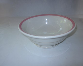 "Syracuse China 9 1/4"" Serving Bowl, Econo Rim Pink Rim and Gilt Band  from 1965-6, Railroad China"