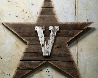 Wall Sized Reclaimed Wood Art - Star w/initial