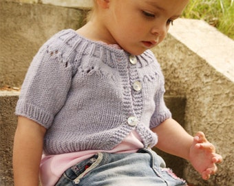Hand knit, Short jacket with short sleeves, raglan and lace pattern on yoke, 100% merino wool superwash, for baby girl or child, sweater