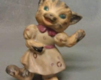 Beige Tan and Brown Cat with Green Eyes and Pink Tie Dancing Cat Figurine