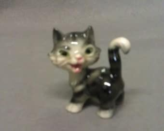 Goebel W Germany  Grey and Beige Cat with Pink Nose and Mouth Cat Figurine