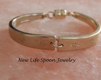 "Gold Color Bracelet ""Dirilyte"" Gold Bracelet Wedding Gift Handmade Silverware Bracelet Vintage Jewelry Spoon Bracelet--103bb"