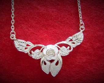 Solid 925 Silver Rose Pendant Necklace (N14)