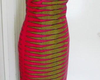 Fuchsia Pulse Ankara Column Dress, Women's Maxi Dress, Long Sleeveless African Wax Dress