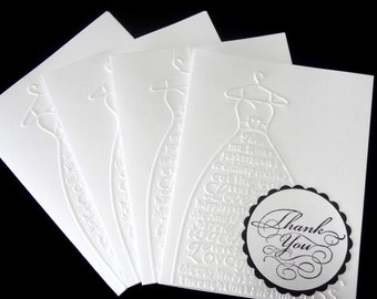 Bridal Shower and Wedding Thank You Cards, Wedding Dress Note Card Set, Newlywed Cards, Bridal Shower Wedding Thanks, Hand Made Hand Stamped