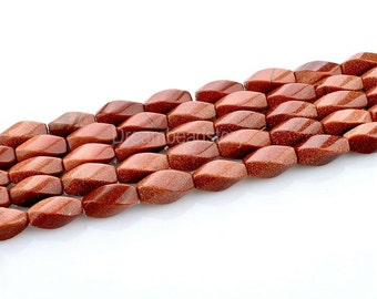5 Strands Natural Gold Stone Beads in Bulk Wholesale, 7*15mm Twist Gemstone Spacer Beads to Make Handmade Jewelry
