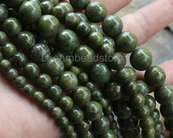 Natural Green Semi Precious Stone Beads for Necklace Bracelet Making, Full Strand 6 8 10 12mm Round Beads Supplies (WM256)
