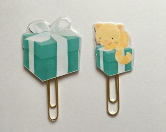Tiffanys Box Gift Box Double Sided Planner Clip - Made to Order
