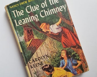 Vintage Nancy Drew Book - The Clue of the Leaning Chimney - #26 - Carolyn Keene - Original Text - Detective Novel - Mystery Stories - 1960s