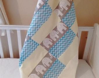 Yellow Grey and elephant coverlet baby fleece blanket