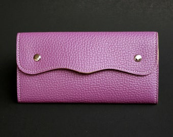 Womens Wallet, Leather Wallet, Purple Wallet, Purple Purse