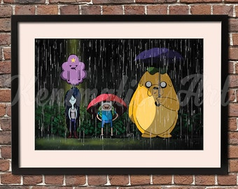 My Neighbor JAKE Art Print - Adventure Time / My Neighbor Totoro Mashup, Studio Ghibli, Japan, Anime, Fan Art