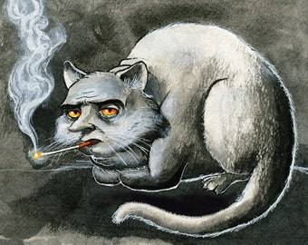Smoking Cat, unframed original artwork, black and white