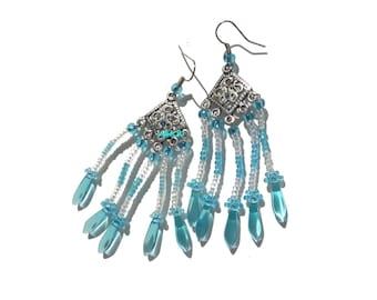 Silver metal and seed beads earrings