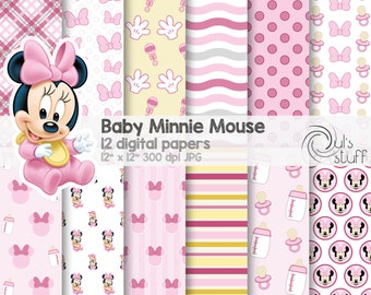 """Baby Minnie Mouse pink digital paper pack, instant download, 12"""" x 12"""""""