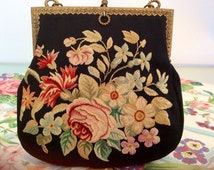 Aubusson Floral Tapestry Purse from the French Bag Shop of New York Black Tie Event Vintage Handbags Evening Accessories