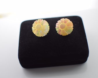 Sterling Screw Back Carved Mother of Pearl Earrings