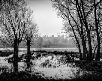 An original fine art photographic giclée print.  Framlingham Castle on a wet and misty morning