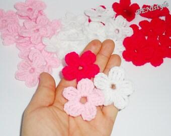 Crochet Flowers Applique,  Mini Flowers, 30 pieces set, Pink Flowers, White Flowers , Red flowers, Decoration Flowers