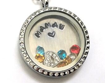 MAMAW - Floating Charm Locket - Memory Locket - Custom Hand Stamped Gift for Mom or Grandma