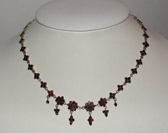 14 kt Gold Vermeil over Brass Gilt Bohemian Garnet Necklace with Drops